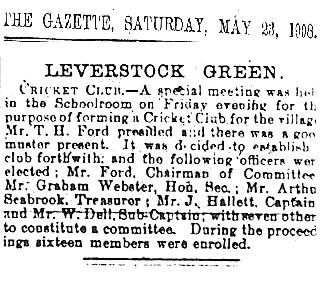 This is a copy of the original Hemel Hempstead newspaper report of the founding meeting of the Leverstock Green Cricket Club